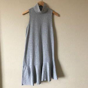 Leith Gray Dress Drop Waist Ruffle Hem Sleeveless